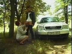 Granny Susanne Gives blowjob And Gets down and dirty Outdoors
