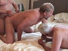 3-way bareback fuck and cum