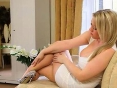 Good-looking blonde bride teasing on bigbed