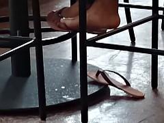 Candid Ebony Feet in Cafeteria 11
