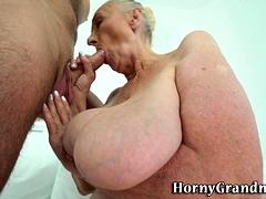 Fat grandma mouth jizzed
