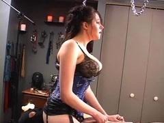 Goddess rides dong on cuckold's chest