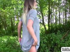 Hot honey shows off big tits and fucks outdoors in the bushes