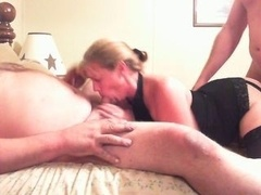 overweight lad & floozy wife play with stranger