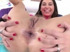 Ass fucked babe swallows