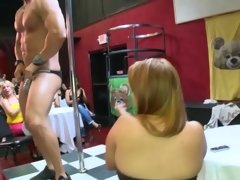 Strip club party babes give the big dick dudes sexy blowjobs