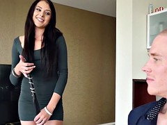Megan Sage ties up her man as a foreplay before riding him