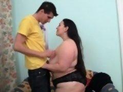 Big butt fat brunette girl rides thick cock