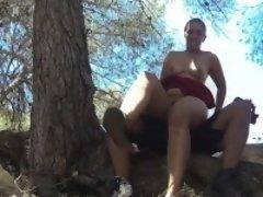 Brunette milf fucks cop outdoors