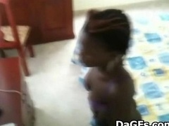 Ebony maid caught on hidden camera