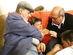 Aged guys gets down and dirty old gal in real hardcore orgy party
