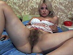 Sexy hairy blonde on cam
