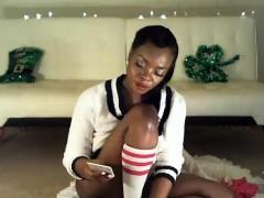Ebony milf in stockings