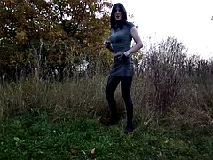 sandralein33 smoking emo girl in a miniskirt and lackleggins