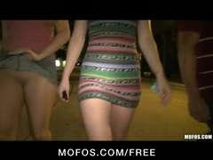 Mofos - 3 WARM girlfriends embark public fucky-fucky at the instruct station