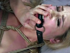 Gagged and tied stripper got anal in her bed