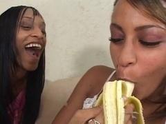 Ebony lesbians food fetish