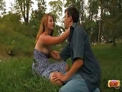 Blonde getting fucked outdoor & admiring it