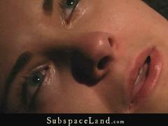 Orgasm and crying in pain in BDSM bondage