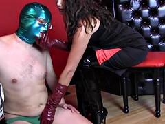 strapon jane dominates slave with leather gloves ass fucking