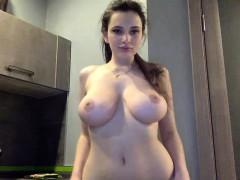 Amateur, Brunette brune, Mamelons, Solo, Webcam