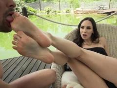 Brunette pornstar foot and anal cumshot
