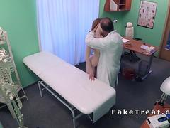 Pale redhead patient bangs her doctor