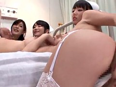 fantastic asian nurses with medium tits sharing a cock in hospital