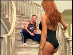 Black slut gets banged on the steps