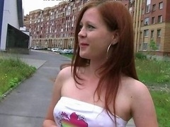 18 18-19 year old Redhead Fucked Outside In Car By 2 Lads