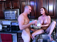 diamond foxxx pours milk over her tits as her lover sucks her nipples