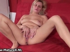 Dirty mature hoe gets all excited playing