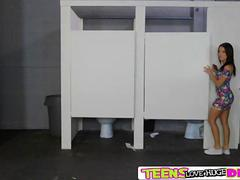 Hardcore bathroom Gloryhole sex action with Megan