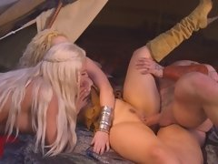 Thrones parody with a couple of babes and a huge man fucking