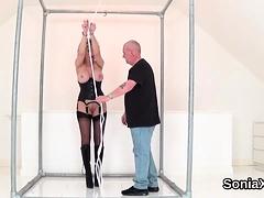 Unfaithful british milf gill ellis flashes her oversized bal