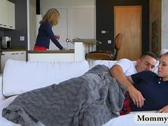 Busty MILF and teen crazy threesome action on the couch