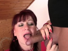 Girlfriends mom in stockings rides his horny cock