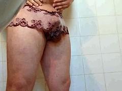 purple Lacey wear panties cum jackoff