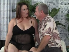 Rubee BBW sticks cock in every hole and licks cum off face