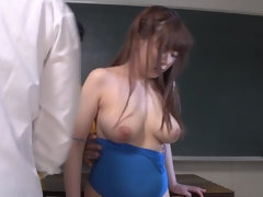 Juicy buxomy oriental Satomi Nagase attending in cum shot porn video