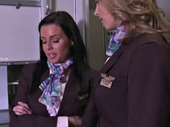 clothed stewardesses fucked in first class