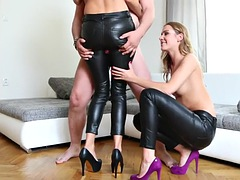 two sexy girls fuck with guy through leather pants