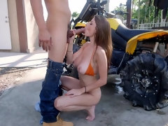 Dillion Carter gets drilled outdoor and takes a huge load on her face