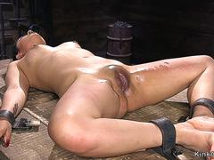 Blindfolded slave in crotch rope gets vibrated