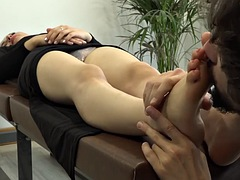 posh girl begs to be hypnotized and has her feet worshipped
