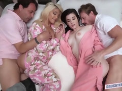 Sexy daughters Elizabeth and Jenna having fuck pyjama party