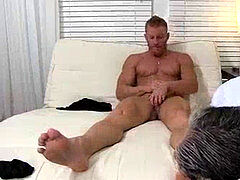 Mature guys feet idolize makes a grizzly stroke until jizzing