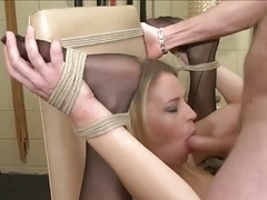 blondie double on a chair